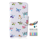 Butterfly PU Material  Phone Case Dust Plug Stylus Pen Combination for Samsung S3/4/5/6/S4 Mini/S6 edge/S6 edge+