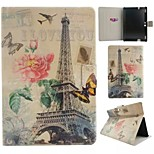 Tower Flower Pattern PU Leather Full Body Case with Stand And Card Slot for Kindle Fire HDX 8.9