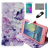 coco Fun® Leben ist schönes Muster PU-Lederetui mit V8-USB-Kabel, FLIM und Stylus für Samsung-Galaxie a3