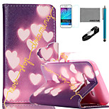 COCO FUN® Shiny Heart Pattern PU Leather Case with V8 USB Cable, Film and Stylus for Samsung Galaxy J1