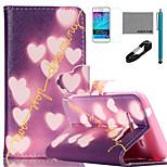 Coco Fun® patrón de corazón brillante caja de cuero de la PU con el cable usb v8, el cine y la aguja para la galaxia j1