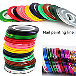 1Set Gold And Silver Line DIY Nail Crepe Rubber Pull Coil (10 Color Mix Color Random Delivery)