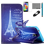 COCO FUN® Eiffel Tower Drawing Pattern PU Leather Case with V8 USB Cable, Flim and Stylus for Samsung Galaxy S5 MINI