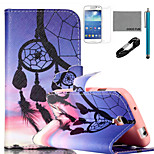 COCO FUN® Sunset Wind-Bell Pattern PU Leather Case with V8 USB Cable, and Stylus for Samsung Galaxy S4 MINI i9190