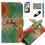 COCO FUN® Green Diamond Pattern PU Leather Case with V8 USB Cable, Flim, Stylus and Stand for Samsung Galaxy S4 I9500