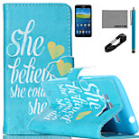 COCO FUN® Believe She Could Pattern PU Leather Case V8 USB Cable, Flim and Stylus for Samsung Galaxy Grand Prime G530