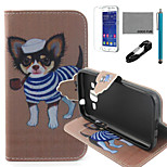 COCO FUN® Tobacco Pipe Dog Pattern PU Leather Case with V8 USB Cable, Flim and Stylus for Samsung Galaxy Core Prime G360