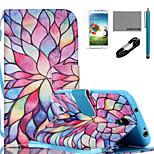 Coco Fun® modelo pétalo caja colorida del cuero de la PU con el cable usb v8, flim, lápiz óptico y soporte para i9500 Samsung Galaxy S4