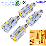 YouOKLight® 4PCS E27 12W 1000lm CRI>80 3000K 60*SMD5050 LED Light Superior quality Corn Bulb (AC200-265V)