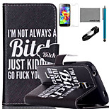 COCO FUN® Black Humor Pattern PU Leather Case with V8 USB Cable, Flim, Stylus and Stand for Samsung Galaxy S5 I9600