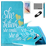 COCO FUN® She Believe She Could Pattern PU Leather Case with V8 USB Cable, Film and Stylus for Samsung Galaxy S6