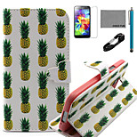 COCO FUN® White Pineapple Pattern PU Leather Case with V8 USB Cable, Flim, Stylus and Stand for Samsung Galaxy S5 I9600