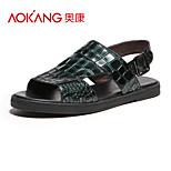 Aokang Men's Leather Sandals Green