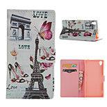 Paris Iron Tower Pattern Card Stand Leather Case for Sony Xperia Z3/Z4