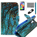 COCO FUN® Blue Grounding Branch Pattern PU Leather Case with V8 USB Cable, Stylus and Stand for Samsung Galaxy S4 I9500