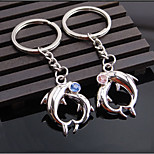 Metal with Diamond Dolphin Pendant Creative Couple Keychain Wedding Commemorative Gifts