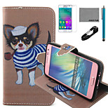 COCO FUN® Tobacco Pipe Dog Pattern PU Leather Case with V8 USB Cable, Flim and Stylus for Samsung Galaxy A3