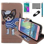 coco fun® pijp hond patroon pu lederen tas met v8 usb-kabel, flim en stylus voor de Samsung Galaxy a3
