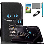 COCO FUN® Blue Eyes Cat Pattern PU Leather Case with V8 USB Cable, Flim, Stylus and Stand for Samsung Galaxy S4 I9500