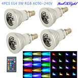 YouOKLight® 4PCS E14 3W RGB 1-LED 16-Color Decorative Lamp w/ Remote Control - Silver + White (AC 90~240V)
