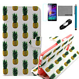 COCO FUN® White Pineapple Pattern PU Leather Case with V8 USB Cable, Flim and Stylus for Samsung Galaxy Note 4