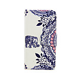 Elephant and Circle Flower PU Leather Full Body Case with Stand for iPhone 5/5S