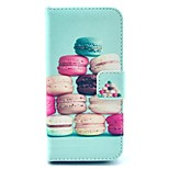Colorful Macaroon Pattern PU Leather Stand Case Cover with Card Slot for iPhone 5/5S
