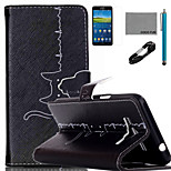 COCO FUN® Cat Cardiogram Pattern PU Leather Case with V8 USB Cable Flim and Stylus for Samsung Galaxy Grand Prime G530