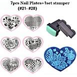 2016 New Love Heart Shape 7pcs Nail Art Stamping Plates+ 1set Nail Stamper Scraper  (22-28)