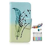 The New Feather Pattern PU Material Phone Case  and Dust Plug Stylus Pen for  Samsung Galaxy Note 3/4/5