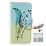 el nuevo patrón de plumas pu teléfono material de la caja y el enchufe del polvo lápiz óptico para Samsung Galaxy Note 3/4/5