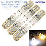 YouOKlight® 6PCS G9 3W 300lm 3000/6000K 64*SMD3014 LED Corn Crystal Lamp Bead (AC220-240V)- Transparent Silicone