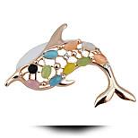 Cute Dolphin Opal Brooch