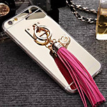 Latest Plating Mirror Backplane and Leather Tassels TPU Frame Combo cell Phone case for iPhone 6 / 6S (Assorted Colors)