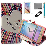 COCO FUN® BlCrayon Heart Pattern PU Leather Case with V8 USB Cable, Film and Stylus for Samsung Galaxy S6
