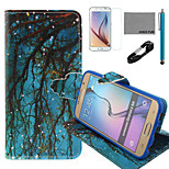 COCO FUN® Blue Grounding Branch Pattern PU Leather Case with V8 USB Cable, Film and Stylus for Samsung Galaxy S6