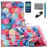 COCO FUN® Diamondcheck Pattern PU Leather Case with V8 USB Cable Flim and Stylus for Samsung Galaxy Grand Prime G530