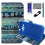 COCO FUN® Circle Tribal Pattern PU Leather Case with V8 USB Cable, Flim and Stylus for Samsung Galaxy Core Prime G360