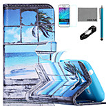COCO FUN® Seascape in Window Pattern PU Leather Case with V8 USB Cable, Film and Stylus for Samsung Galaxy J1