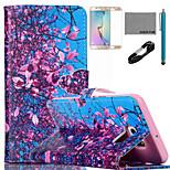 coco albero cielo fun® flower pattern pu custodia in pelle con il cavo usb v8, del cinema e dello stilo per bordo Samsung Galaxy S6 più