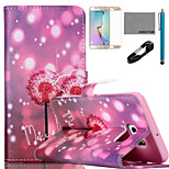 coco Fun® Glühwürmchen-Löwenzahn-Muster PU-Lederetui mit V8-USB-Kabel, Film und Stylus für Samsung-Galaxie s6 Kante sowie