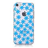 Blue Flower Pattern Transparent TPU Soft Case for iPhone5c