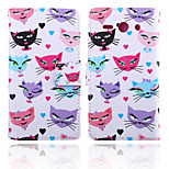 Cat Pattern Card Stand Leather Case for Huawei Y530/Y550
