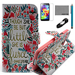 COCO FUN® Little Flower Pattern PU Leather Case with V8 USB Cable, Flim, Stylus and Stand for Samsung Galaxy S5 I9600