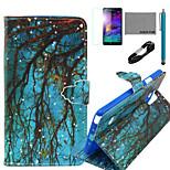 coco Fun® blauen Erdungs Zweig Muster PU-Lederetui mit V8-USB-Kabel, FLIM und Stylus für Samsung Galaxy Note 4