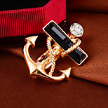 Fashion Elegant Navy Anchor Full Rhinestone Alloy Men's brooch For