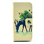 Reindeer and Bird Pattern PU Leather Stand Case Cover with Card Slot for iPhone 5/5S