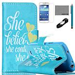 coco Fun® sie konnte Muster PU-Lederetui mit V8-USB-Kabel, FLIM und Stylus für Samsung Galaxy S4 Mini i9190
