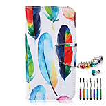 Colored Feathers PU Material  Phone Case Dust Plug Stylus Pen Combination for Samsung A3/A5