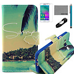 COCO FUN® Summer Coconut Pattern PU Leather Case with V8 USB Cable, Flim and Stylus for Samsung Galaxy A3